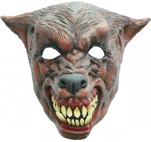 Latex Masker Bruine Wolf Luxe