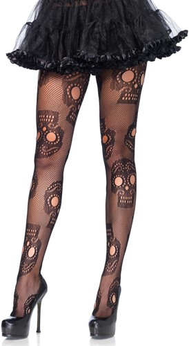 Sugar Skull - Day of the Dead Netpanty (Zwart)