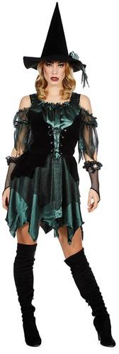 Heksenjurk voor dames Groen/Zwart (inclusief Heksenhoed)