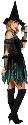 Heksenjurk Groen-Zwart voor dames  -2