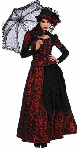Damesjurk Gothic Roxaria Zwart/Rood