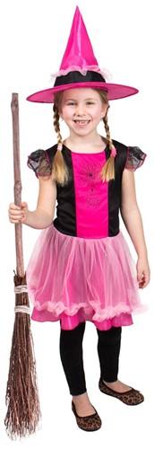 Heksenjurk voor meisjes met Hoed Pink/Zwart