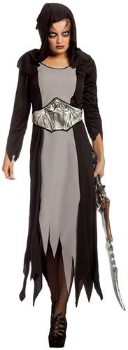 Zwart-Grijze Halloween Jurk met Vleermuisband