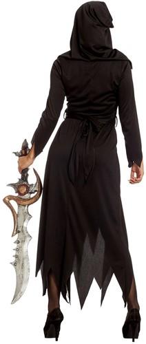 Halloween Jurk Zwart-Grijs met Vleermuisriem -3