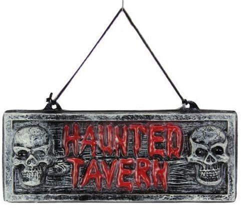 Wanddecoratie Haunted Tavern met doodshoofden(38X14cm)