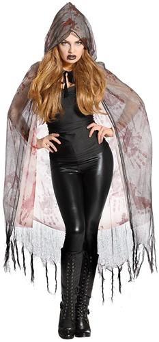 Halloween Cape met Bloed met Capuchon (2 laags)