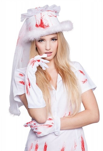 Bruidshoed met sluier   Wit met Bloed