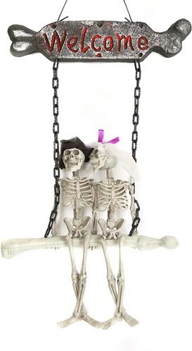 Deurdecoratie Halloween Welcome Skeletten (87x42cm)