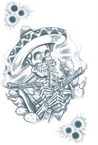 Tattoo Mexicaanse Bandito Skelleton (tijdelijk)-2