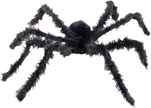 Harige Spin Groot Zwart met LED-ogen (102cm)