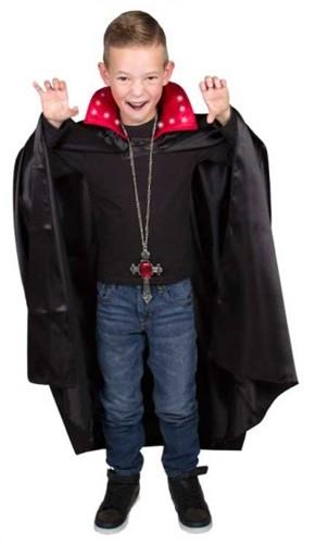 Dracula Cape Zwart/Rood met Verlichting voor Kinderen