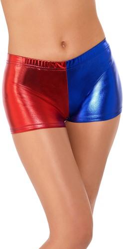 Harley Quinn Cosplay Hotpants Rood/Blauw