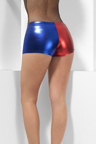 Harley Quinn Cosplay Hotpants Rood/Blauw (achterkant (2))