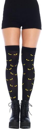 Sexy Overknee Zwart met Spooky Cat Eyes