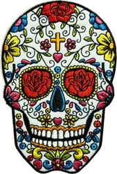 Applicatie Sugar Skull met Kruisje (12x8,5cm)