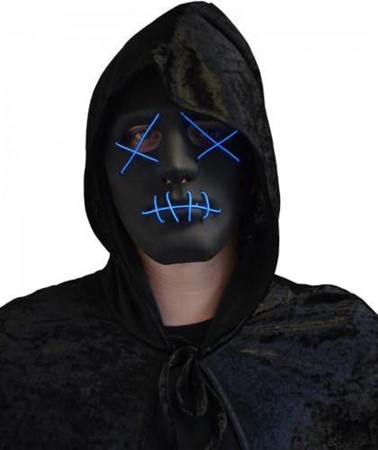 Masker Halloween Zwart met LED-verlichting (The Purge)