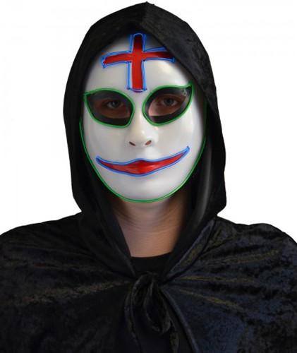 Masker Halloween Clown met LED-verlichting (The Purge)