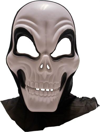 Masker Halloween Skull met Kap (plastic)