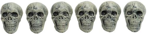 Decoratie Halloween Doodshoofden Skulls 13cm - 6st.