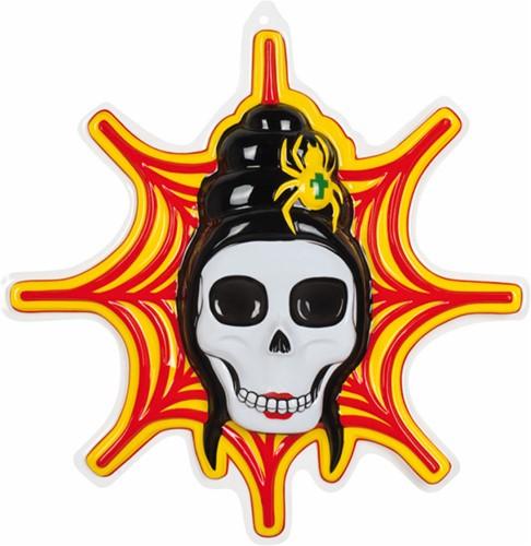 Wanddeco Skull voor Web met Spin (55x40cm)
