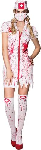Halloweenkostuum Bloody Nurse voor dames (4-delig)