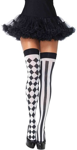 Sexy Overknee Harlequin Zwart/Wit
