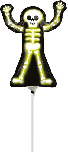 Neon Skelet Folieballon Op Stok