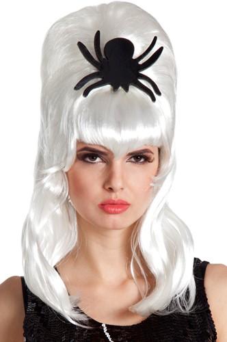 Witte Halloweenpruik Bruid met Zwarte Spin