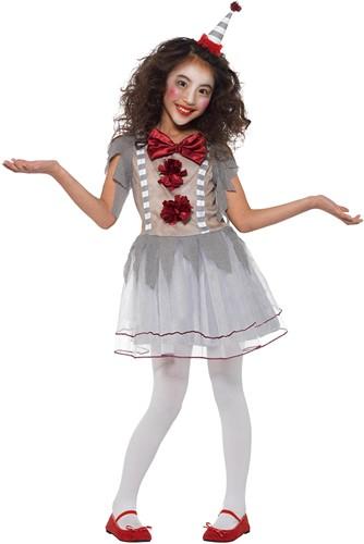 Scary Meisjeskostuum Vintage Clown Grijs-Rood