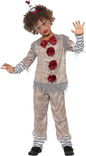 Vintage Kinderkostuum Scary  Clown Grijs-Rood