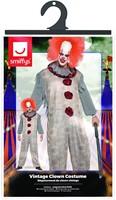 Herenkostuum Scary Vintage Clown Grijs-Rood (verpakking)
