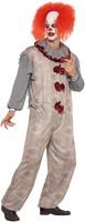 Herenkostuum Scary Vintage Clown Grijs-Rood (zijkant)