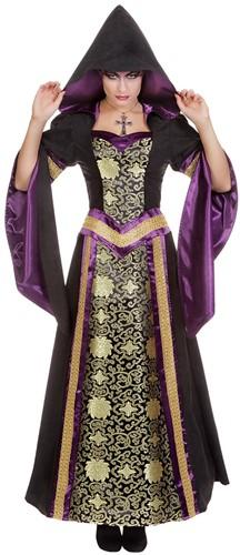 Luxe Gothic Damesjurk met Capuchon (Zwart/Paars)