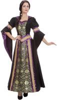 Luxe Gothic Damesjurk met Capuchon (Zwart/Paars)-2