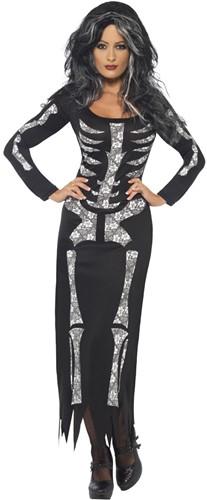Halloween Skeleton Damesjurk