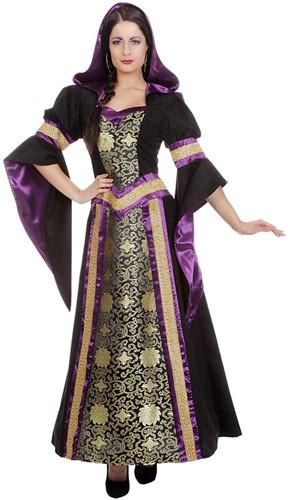 Luxe Gothic Damesjurk met Capuchon (Zwart/Paars)-3