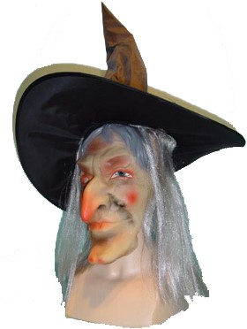 Heks Masker met haar en hoed