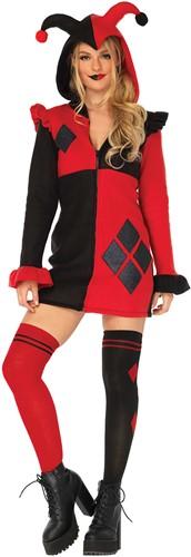 Dameskostuum Cozy Harlequin Rood/Zwart (Harley Quinn)