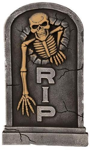 Decoratie RIP Grafsteen met Skelet (56cm)