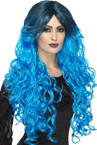 Gothic Pruik Ombre blauw Luxe