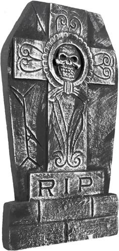 Grafsteen Kruis met Doodshoofd RIP (50x27cm)
