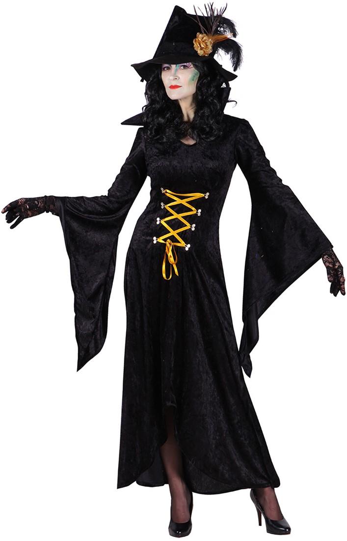 9fbc85d42341e7 Zwarte Heksenjurk Morticia voor dames