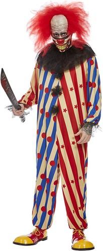 Creepy Halloweenkostuum Clown Rood-Blauw
