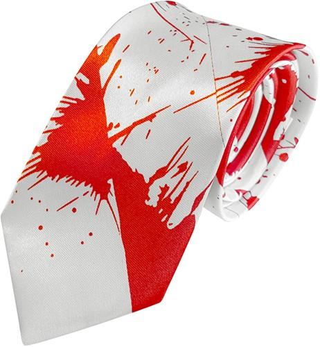 Stropdas Wit Satijn met Bloed