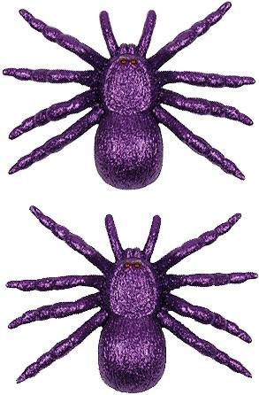 Paarse Glitter Spinnen (set van 2)