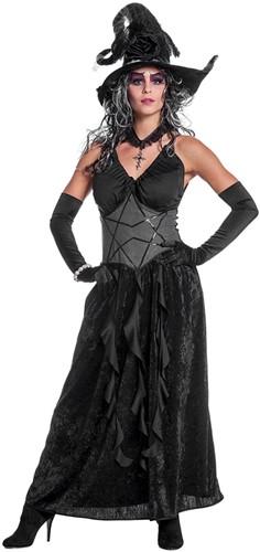 Dames Heksenjurk Black Angel (zwart)