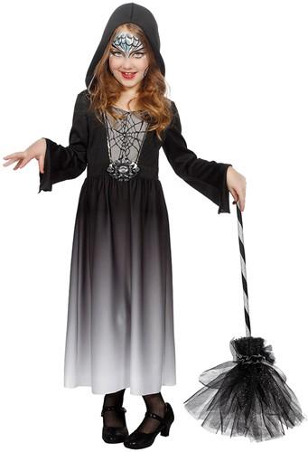 Meisjes Halloween Jurk met Capuchon Zwart-Grijs
