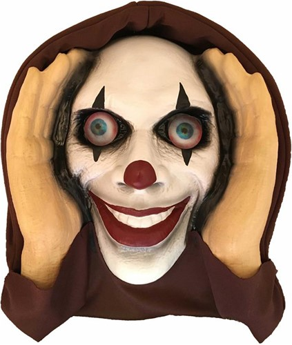 Scary Peeper Clown Halloween Decoratie (40x28cm)