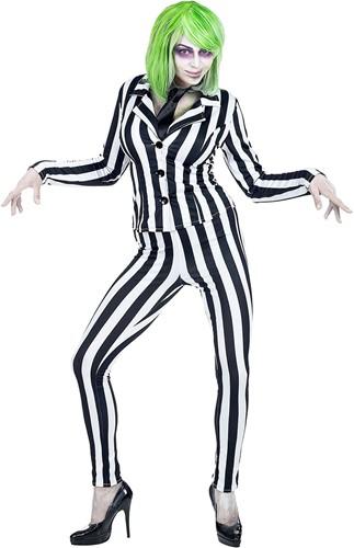 Dameskostuum Halloween Zwart-Wit Beetlejuice