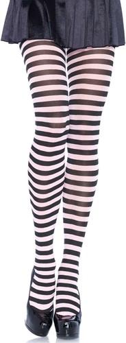 Gestreepte Panty Wit-Zwart Luxe